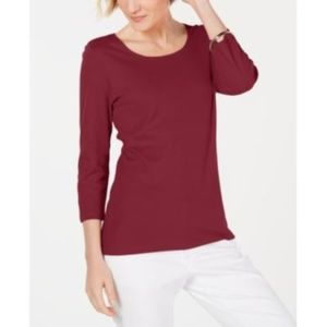Karen Scott Cotton 3/4-Sleeve Top